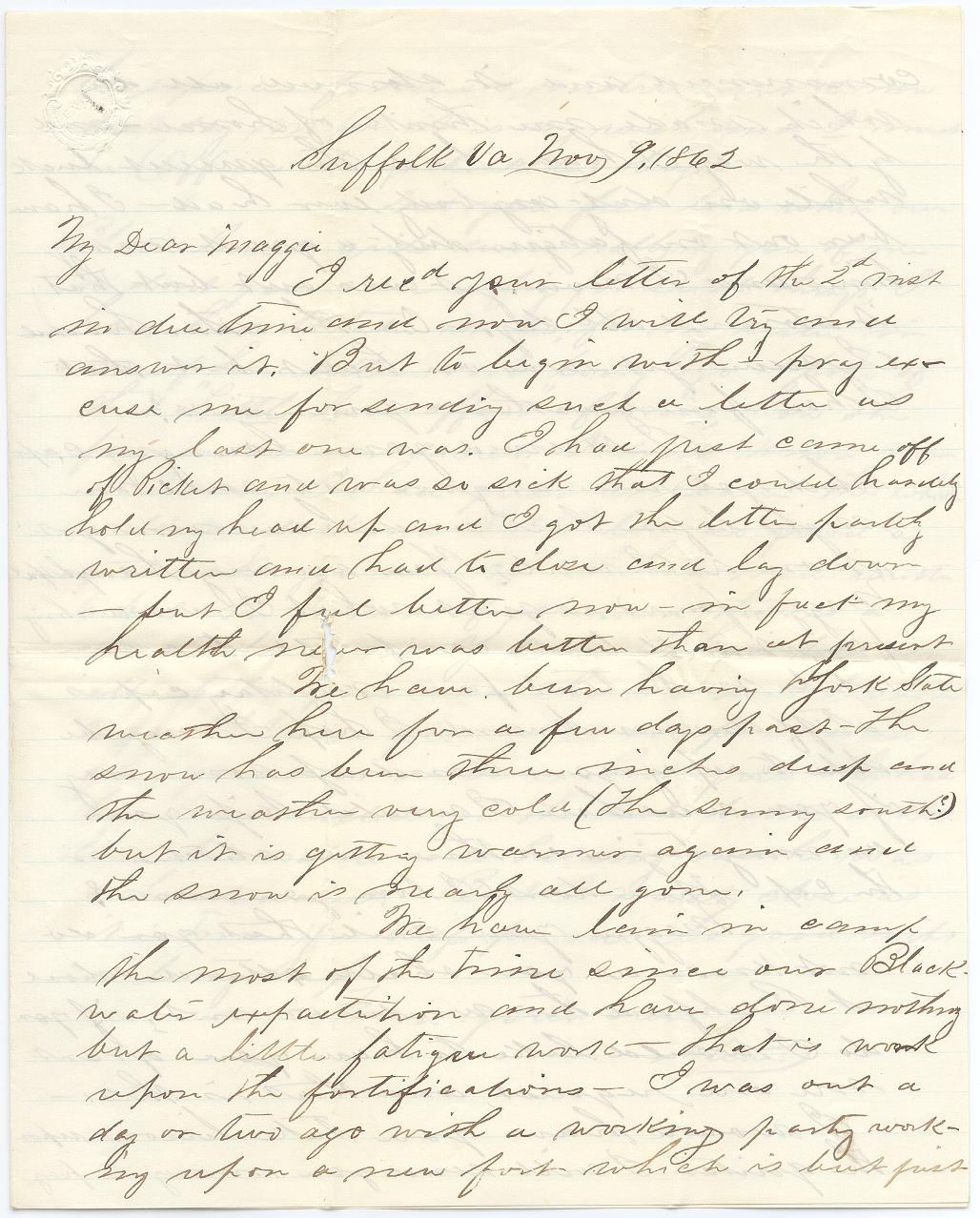 "9 November 1862: ""my sister in one of her letters not long ago ..."