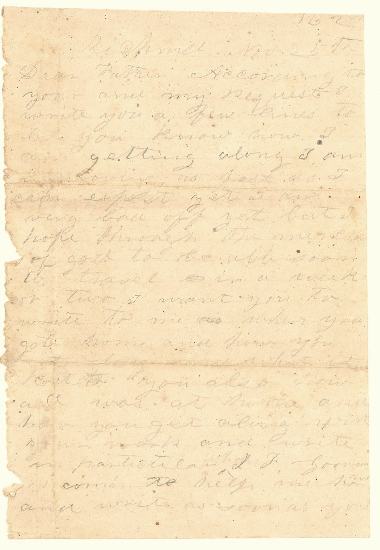 letter to me 25 november 1862 if he can to bring me some 23220