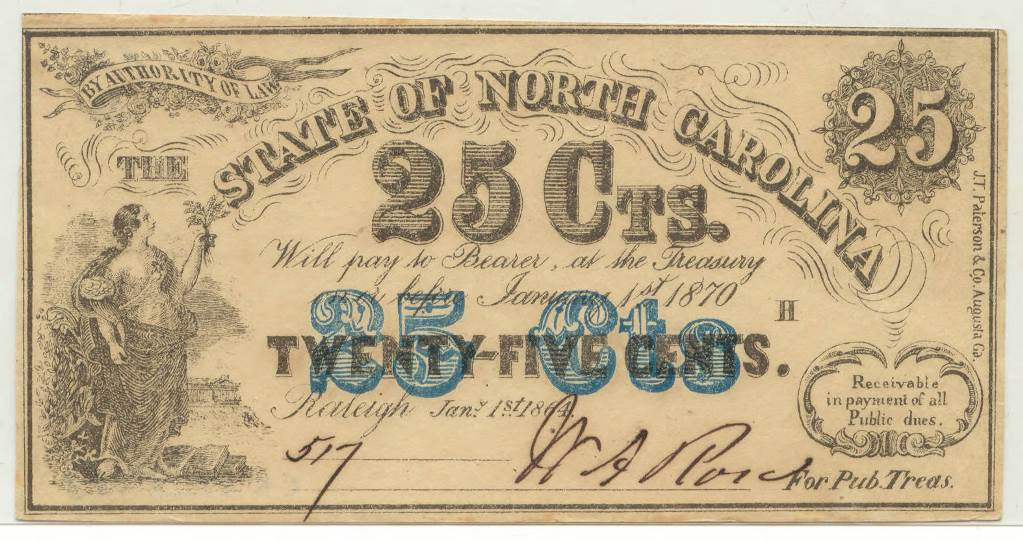 North_Carolina_twentyfive_cent_treasury_note_blue_highlight_1864