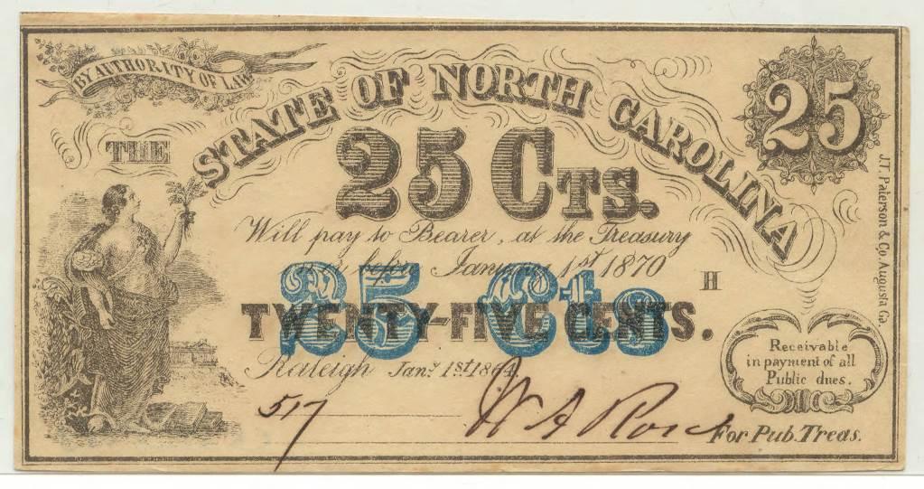 North_Carolina_twentyfive_cent_treasury_note_blue_highlight_1864