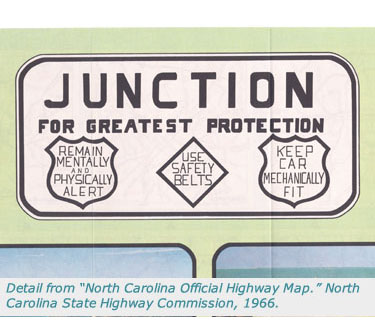 Detail From North Carolina Official Highway Map 1966
