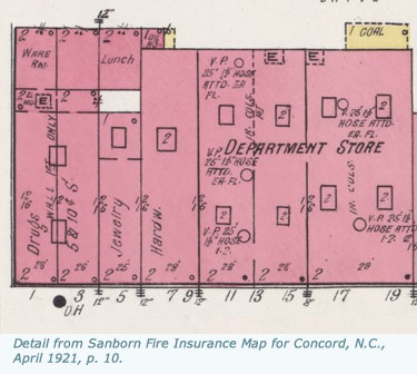 Sanborn Fire Insurance Map for Concord, N.C., 1921, p. 10.