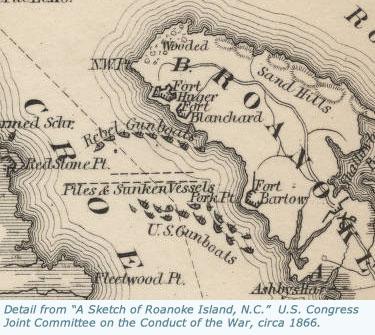 detail from a sketch of roanoke island n c ca 1866